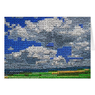 Puntada cruzada de Digitaces - nubes y campo Tarjeta De Felicitación