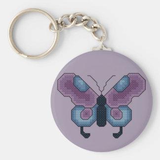 Puntada cruzada de la mariposa llavero redondo tipo pin
