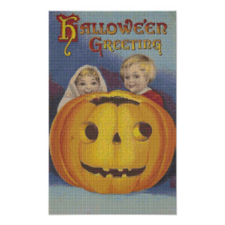 Puntada cruzada de los saludos de Halloween del mu Poster