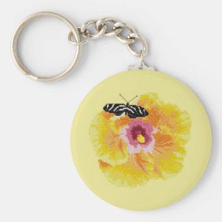 Puntada de la cruz de la flor de mariposa llavero redondo tipo pin