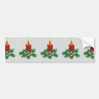 Puntada de la cruz de la vela del navidad pegatina para auto