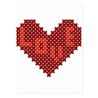 Puntada de la cruz del corazón del amor tarjeta postal