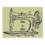 Puntada de la máquina de coser del vintage por la postal