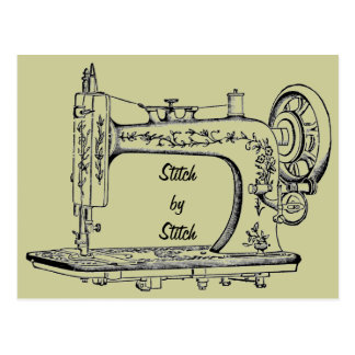 Puntada de la máquina de coser del vintage por la  tarjeta postal
