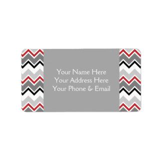 Puntadas cones monograma negras grises rojas del c etiquetas de dirección