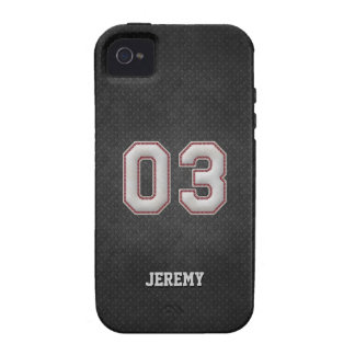 Puntadas del béisbol del número 03 con mirada negr Case-Mate iPhone 4 funda