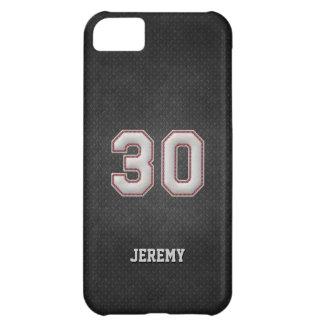 Puntadas del béisbol del número 30 con mirada negr funda para iPhone 5C
