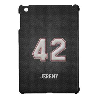 Puntadas del béisbol del número 42 con mirada negr iPad mini carcasa