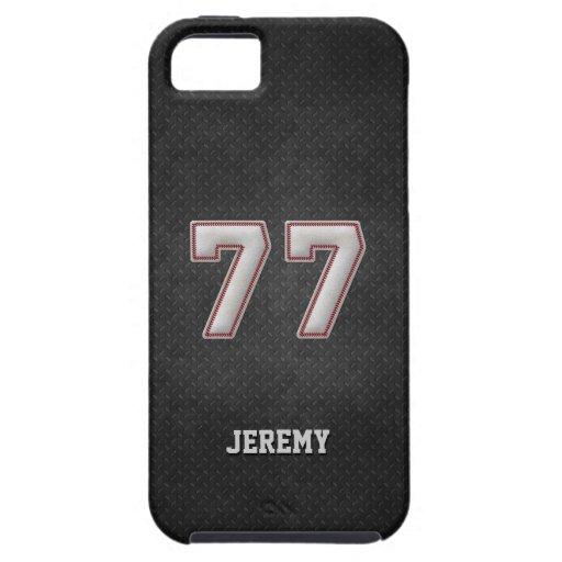 Puntadas del béisbol del número 77 con mirada negr iPhone 5 coberturas