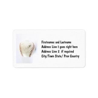 Puntadas del béisbol o del softball del vintage etiqueta de dirección