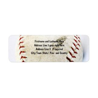 Puntadas del béisbol o del softball del vintage etiqueta de remite