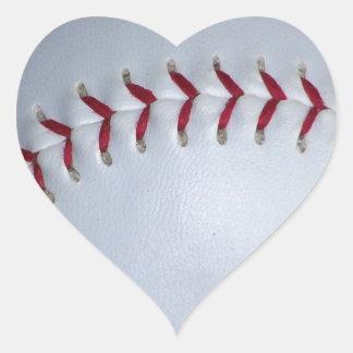 Puntadas del béisbol pegatina en forma de corazón