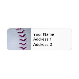 Puntadas púrpuras del béisbol/del softball etiquetas de remite