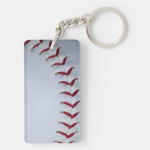 Puntadas rojas del béisbol llavero rectangular acrílico a doble cara
