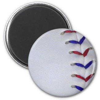 Puntadas rojas y azules del béisbol/del softball imanes para frigoríficos