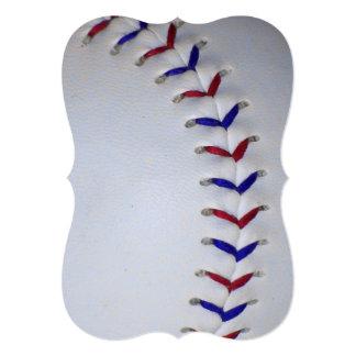 """Puntadas rojas y azules del béisbol/del softball invitación 5"""" x 7"""""""