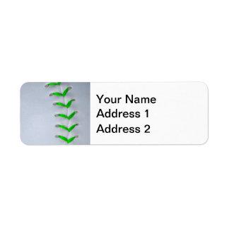 Puntadas verdes claras del béisbol/del softball etiqueta de remite