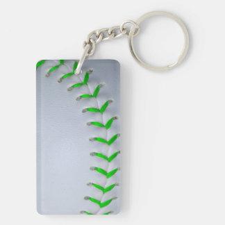 Puntadas verdes claras del béisbol del softball llavero
