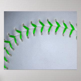 Puntadas verdes claras del béisbol/del softball póster