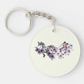 Puntilla de flores de cerezo llavero redondo acrílico a doble cara