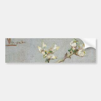 Puntilla de la almendra floreciente en un vidrio etiqueta de parachoque