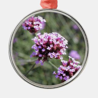 Puntilla de la flor de la verbena de la lila adorno navideño redondo de metal