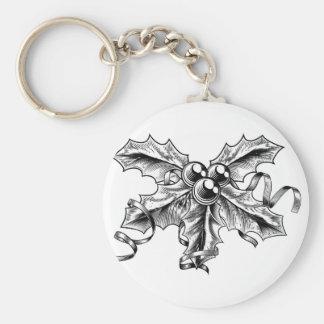 Puntilla de las bayas del acebo del navidad del es llaveros personalizados