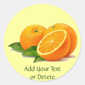Puntilla de los pegatinas de los naranjas (en pegatina redonda