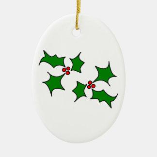Puntillas del acebo adorno navideño ovalado de cerámica