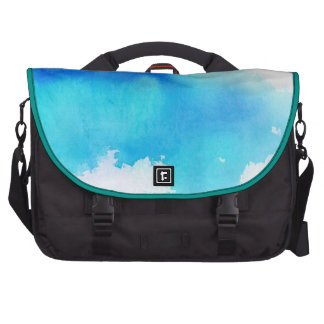 Punto azul, pintado a mano abstracto de la acuarel bolsas para portatil