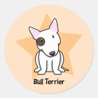 Punto bull terrier del ojo de la estrella de Kawai Etiqueta Redonda