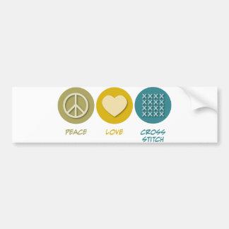 Punto de cruz del amor de la paz pegatina de parachoque