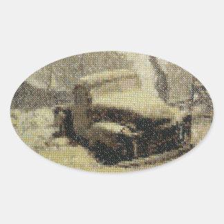 Punto de cruz viejo del camión pegatina ovalada