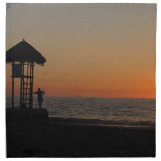 Punto de reclinación de la puesta del sol servilleta imprimida