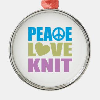 Punto del amor de la paz adorno navideño redondo de metal