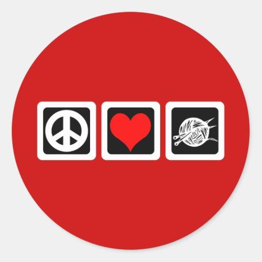 Punto del amor de la paz etiqueta redonda