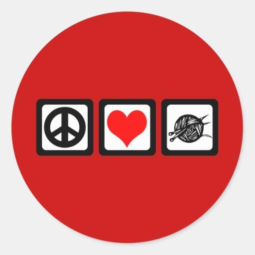 Punto del amor de la paz pegatina redonda