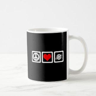 Punto del amor de la paz tazas de café