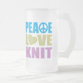 Punto del amor de la paz taza de cristal