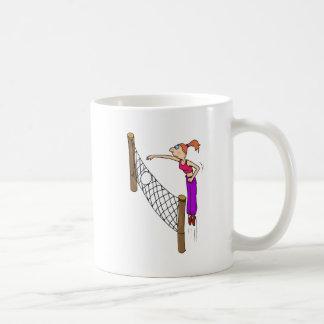 Punto del chica del voleibol taza de café