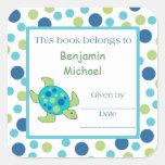 Punto del verde azul de la etiqueta del Bookplate