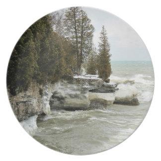 Punto en invierno - placa de la cueva del condado plato de cena