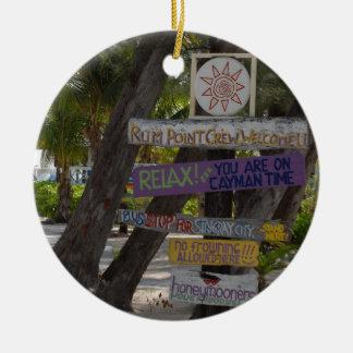 Punto Gran Caimán del ron del poste de muestra Ornamentos Para Reyes Magos