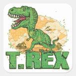Punto grande de T Rex Calcomanía Cuadrada Personalizada