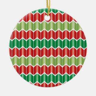 Punto grande verde rojo adorno navideño redondo de cerámica