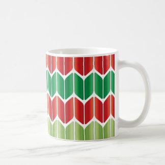 Punto grande verde rojo taza básica blanca