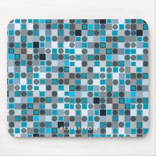 Punto gris cuadrado azul retro Mousepad Tapetes De Ratón