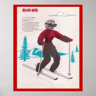 Punto-ingenio de los deportes de invierno del vint poster