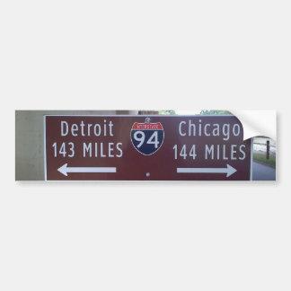 Punto intermedio, Detroit Chicago Pegatina De Parachoque