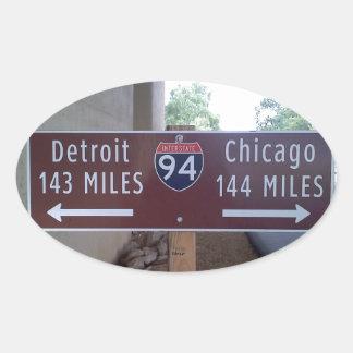 Punto intermedio, Detroit Chicago Pegatina Ovalada